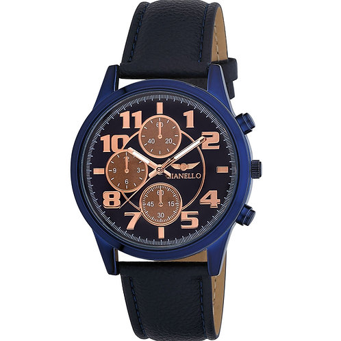 Gianello Men's Tri Faux Chronograph Leather Watch