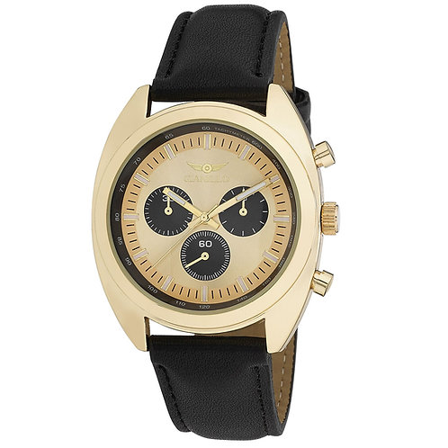 Gianello Mens Tri Faux Chrono Round Case Strap Watch