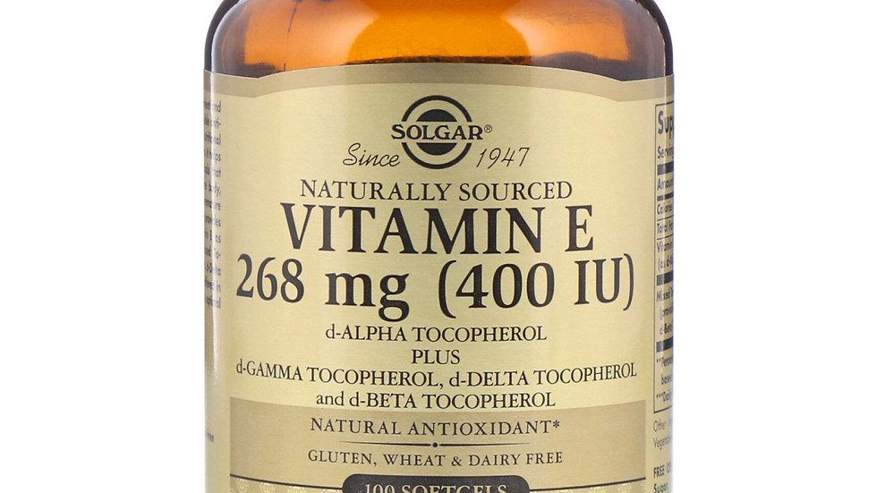 Solgar, Витамин E, 400 МЕ, 100 мягких таблеток