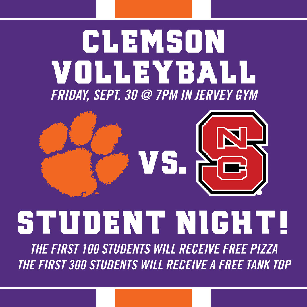 Clemson Volleyball Social Media Graphic