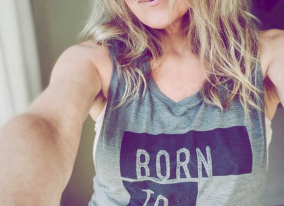 Born To Roam Ladies Muscle Tank