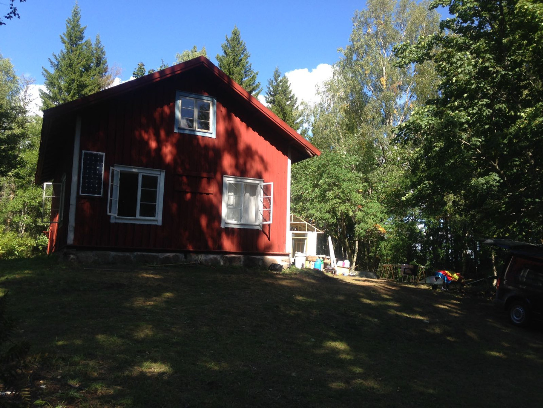 Zijkant huis in Zweden