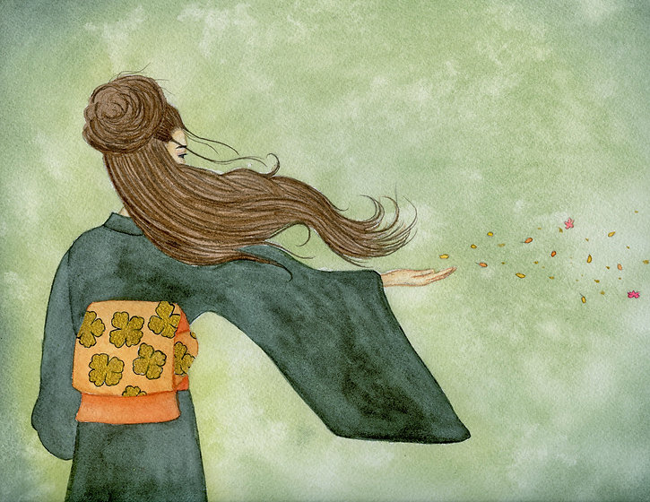 asian woman scattering blossoms