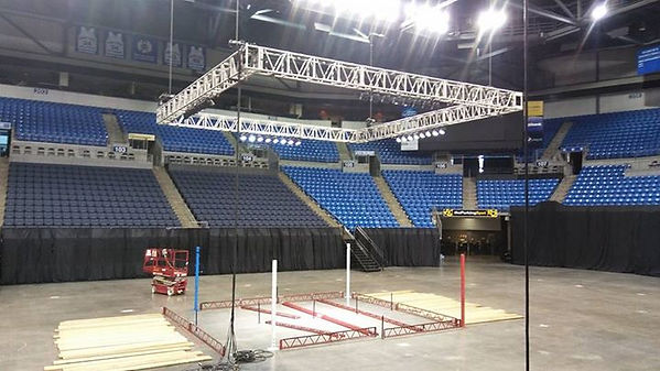 Raising truss and lights for Kickboxing ring