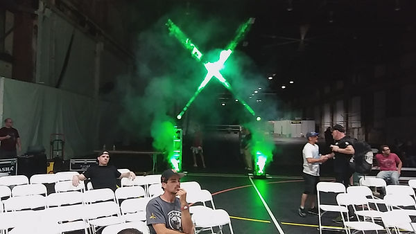 MMA Event with moving Rasha Kryos heads, vertical truss and Rasha vertical CO2 foggers.