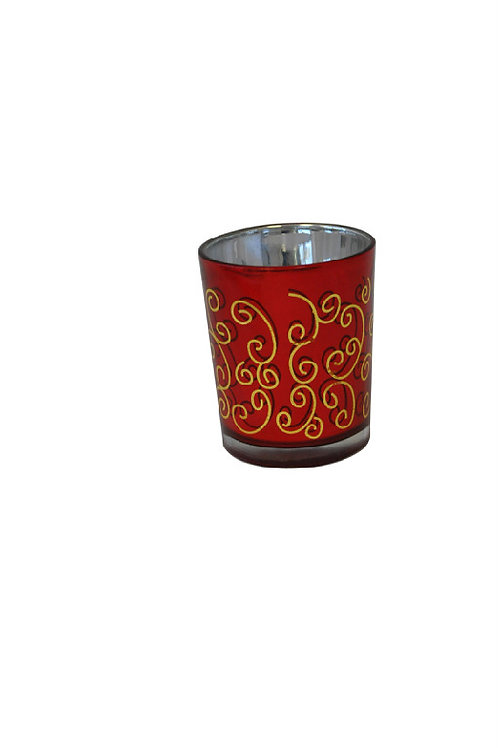 Votive Holder Glass Red with Gold Swirl Rental