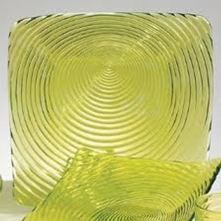 Plate Green Glass Square Swirl