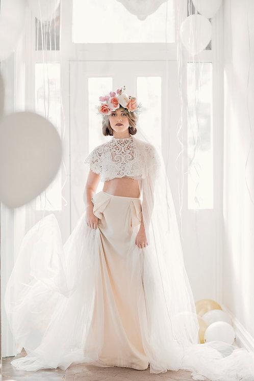 Whimsical White, Ellie Skirt, Vintage Blush, size 12