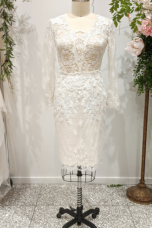 Whimsical White, French Lace, size 12-14