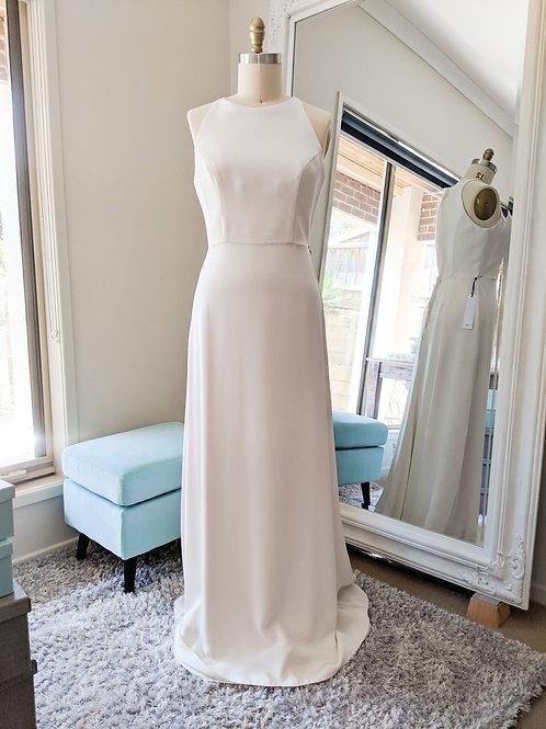 Whimsical White, Silk Crepe de chine sheath gown.