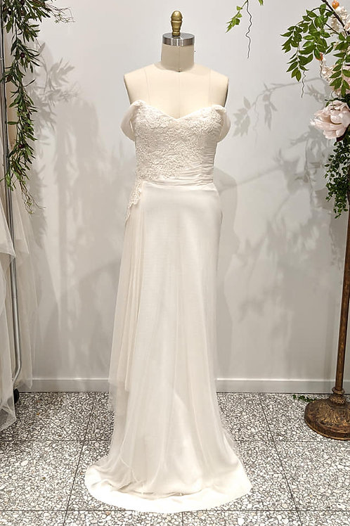 Off Shoulder Champagne silk, lace & Tulle gown