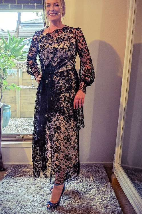 Jennifer Bowden Designs, Black French Lace gown, size 12