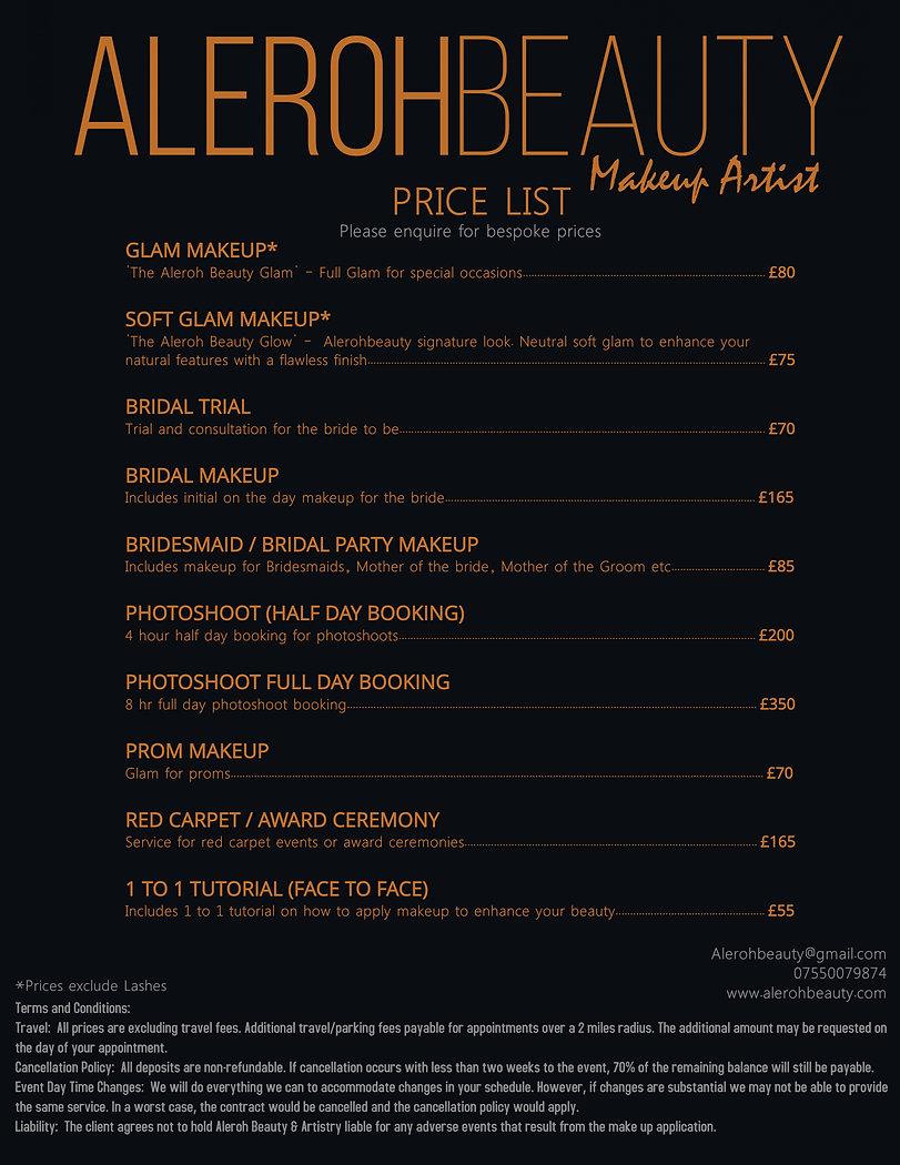 Copy of Copy of Beauty  Spa Price List F