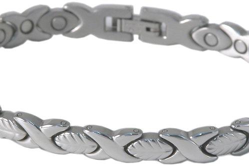 SBP1093 Ladies Stainless Steel Leaf Silver Mangetic Bracelet