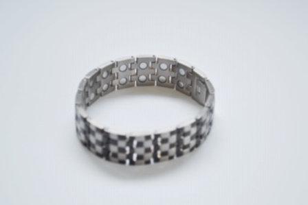 Men's Titanium Silver & Black Bracelet