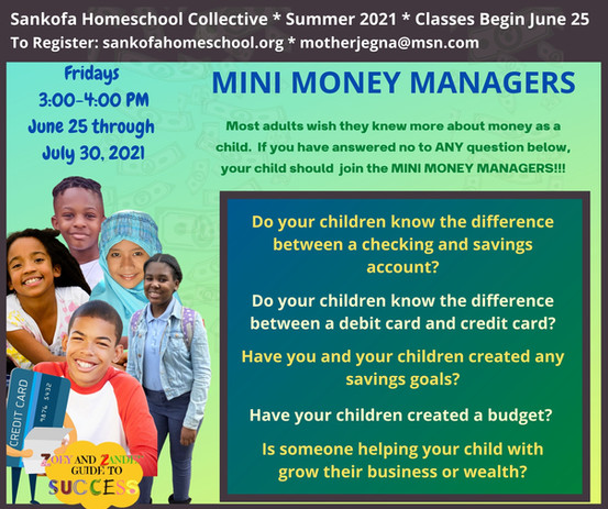 Mini Money Managers Summer 2021