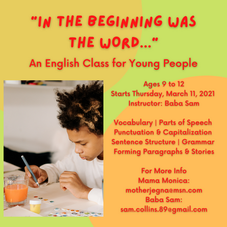 Youth English Class -- In the Beginning