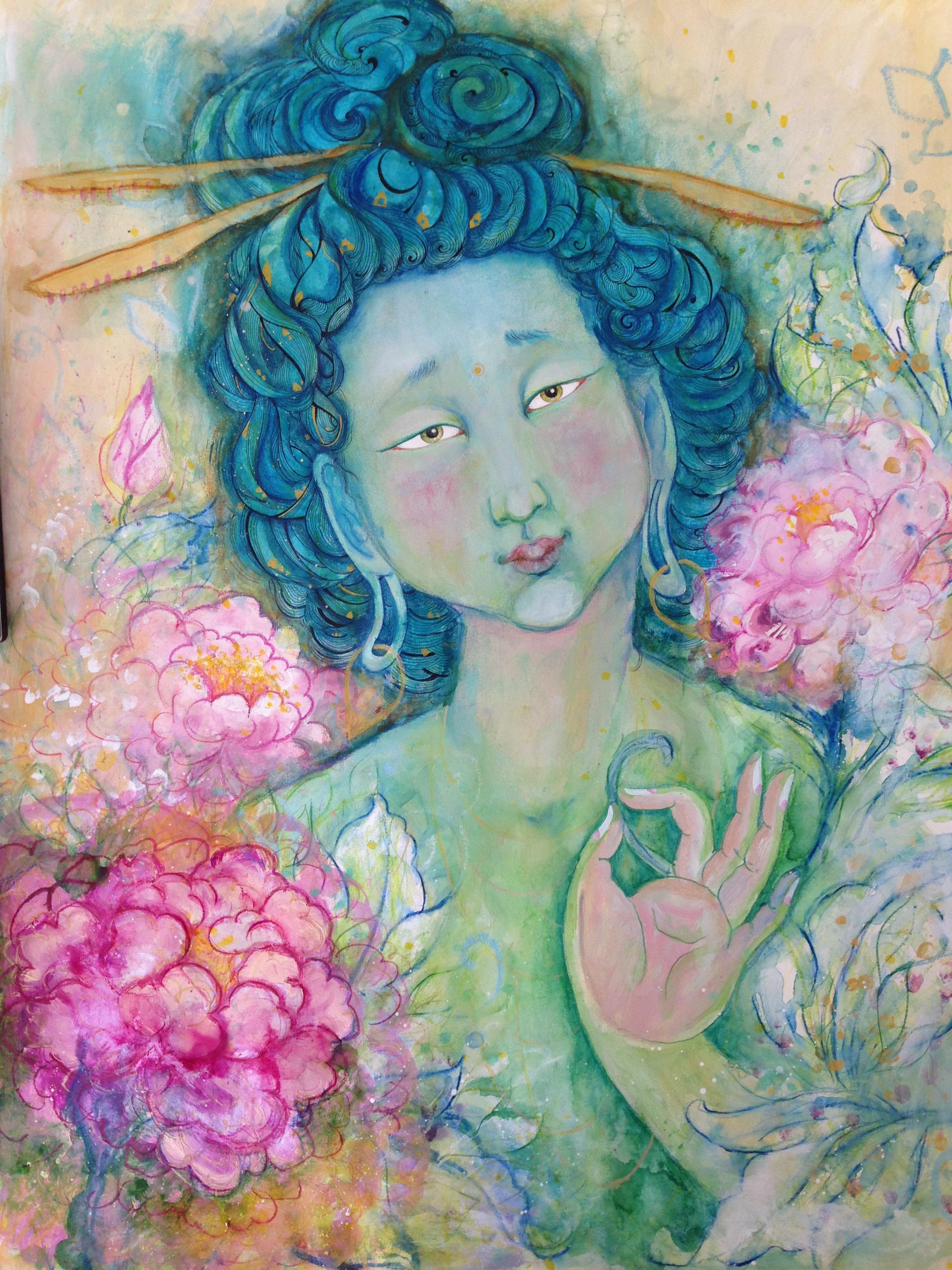 pintura budista tara verde