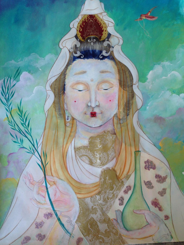 pintura budista intuitiva kuan yin