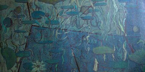 "Caroline Furr.  Green Room.  Mixed media on rag paper.  42"" x 84""."