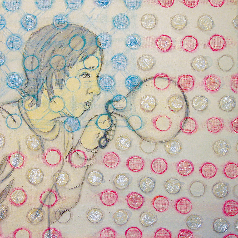 Circles in the Square-White, mixed media on canvas with plastic bubbles