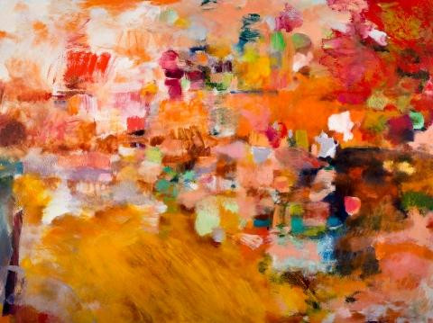"Pathways Redux by Sandra Benhaim.  Oil, oil pigment stick, oil pastel on canvas, 36"" x 48"""