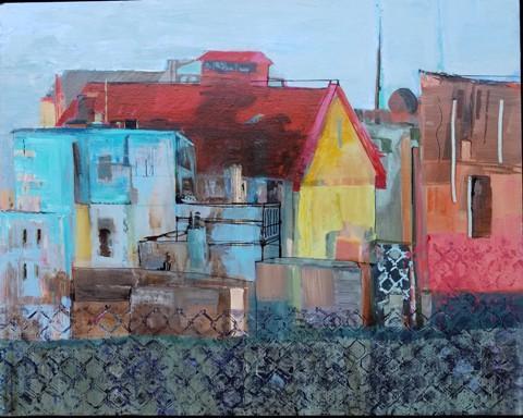 """""""On an Island"""" by Ronnie Bookbinder.  Acrylic on canvas, 24"""" x 30"""""""