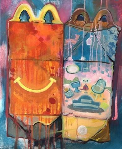 """Happy Meal"" by Jeanne O'Shell.  Oil on canvas, 20"" x 16"""
