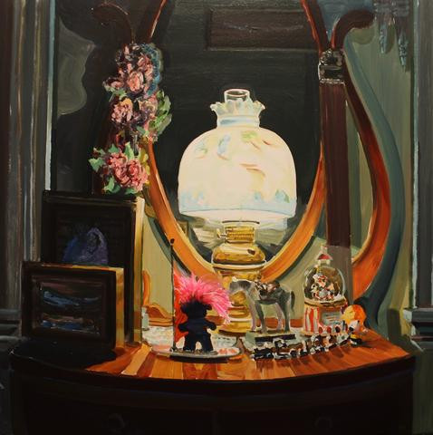 """Sean Hildreth.  One of Pat's Lamps.  Acrylic on canvas.  34"""" x 34""""."""