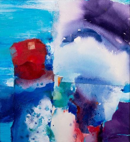 """Composite 3"" by Sandra Benhaim.  Mixed-media collage on Bristol vellum, 12"" x 12"""