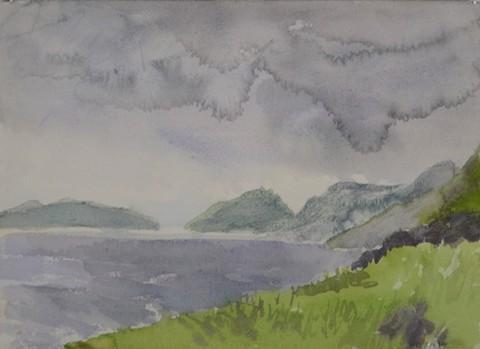 "Sarah Roche.  Blasket Island.  Watercolor.  10"" x 14""."