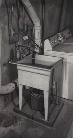 "Chris Feiro. Utility Sink, charcoal on paper, 54"" x 29"""