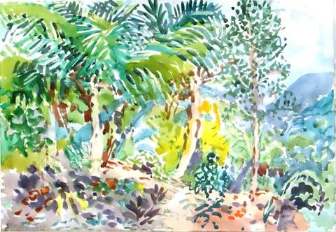 Nell Blaine.  Three Palms on a Hillside.