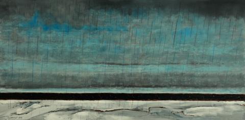 """Purple Rain"" by Karen Stabenow.  Acrylic on board, 12"" x 24""."