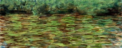 "Sarah Roche.  Cedar Water.  Watercolor.  4"" x 10""."