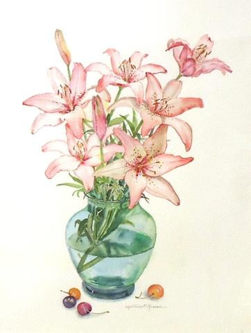 "Millicent Krouse.  ""Stargazers"".  Watercolor"