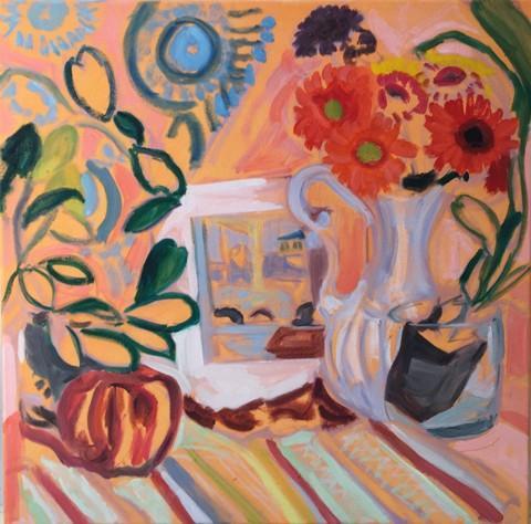 Peggy Tutelman Merves.  Orange Crush.  Oil on flashe on canvas.