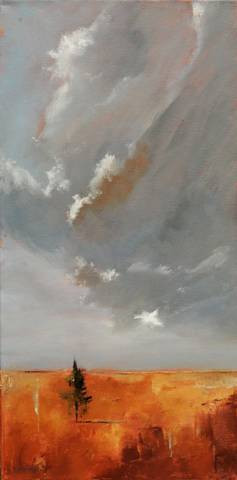 Ascending Clouds by Cindy Roesinger.  OIl on panel..