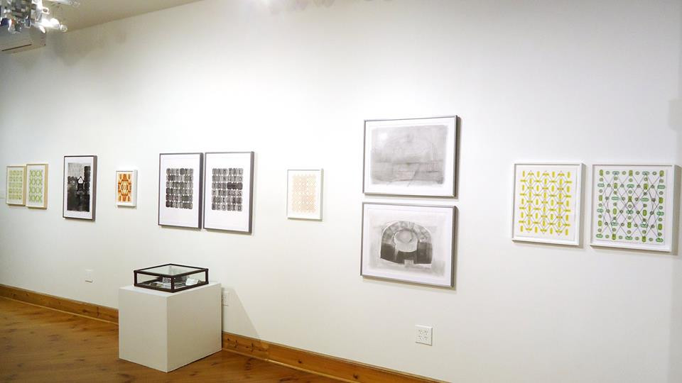 """Installation view of """"Reverberations"""" at Cerulean Arts Gallery.  Left-hand view from the back of the gallery"""