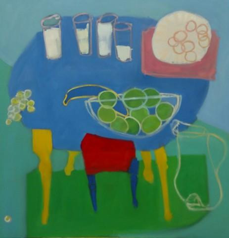 """Milk and Cookies 2"" by Kathleen Craig.  Oil on n canvas, 36"" x 36"""