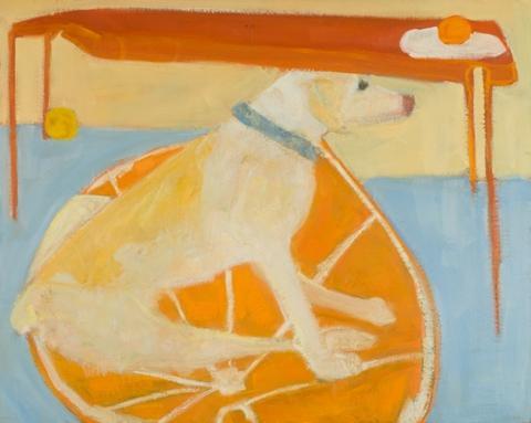 """Dog on Orange Rug"" by Kathleen Craig.  Oil on panel, 24"" x 30"""