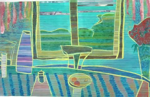 Fran Gallun.  A Visit with Bonnard.  Acrylic, india ink, gouache, collage