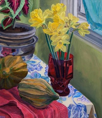 """Elizabeth Heller.  """"Stll Life with Red Glass"""".  Oil on panel."""
