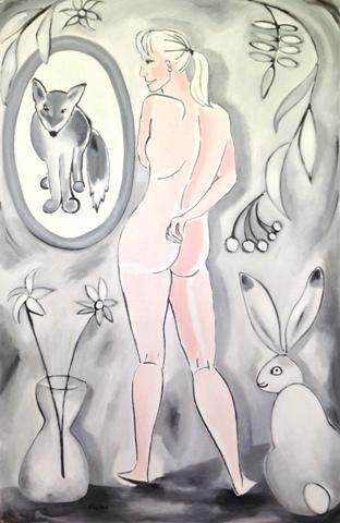 """Ritva Kangasperko.  The Truth Is in the Mirror.  Oil on canvas.  36"""" x 24""""."""