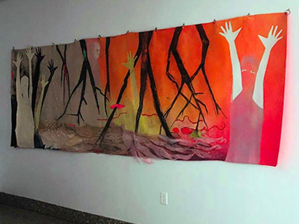 "Ruth Wolf.  ""Goses"".  Acrylic and mixed media on a tarp."