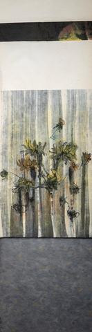 """Untitled #17-08"" by Janice Merendino, pastel and ink on paper, 43"" x 12"""