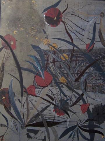 "Caroline Furr.  Flowers Before a Hedge.  Mixed media on board.  40"" x 30""."