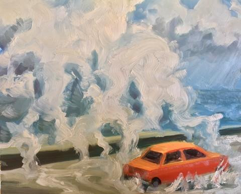 "Kellyann Monaghan.  Storm Waves and Car.  Oil on panel.  11"" x 14""."