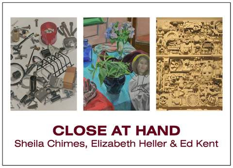 "Post card for Close at Hand.  Artworks, left to right:  ""Junk Drawer"" by Sheila Chimes, ""Still Life with Summer Flowers"" by Elizabeth Heller, ""Assemblage No. 7"" by Ed Kent."