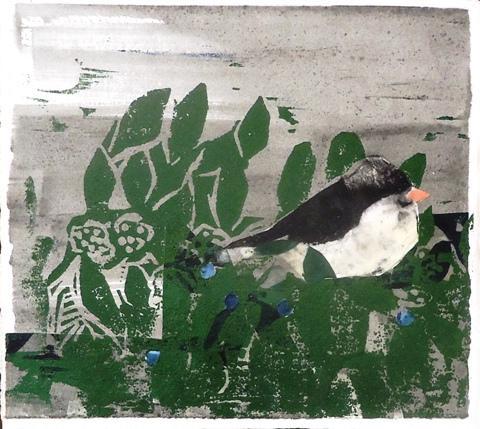 Julie Zahn.  Chickadee on Blueberry Bush.